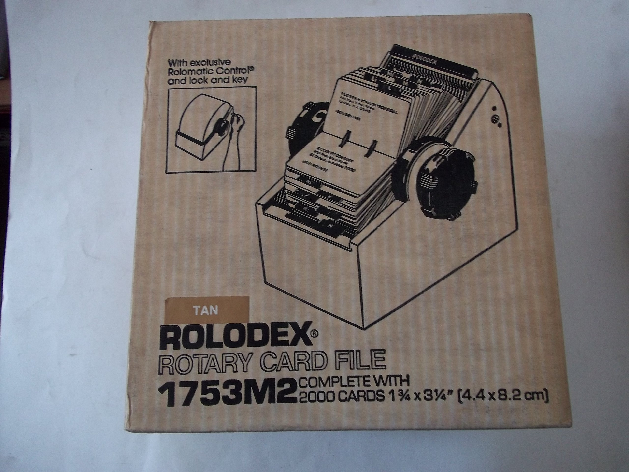 Rolodex 1753M2 Tan Rotary Card File with 2000 Cards 1 3/4'' x 3 1/4'' (4.4 x 8.2 cm) with Lock and Key