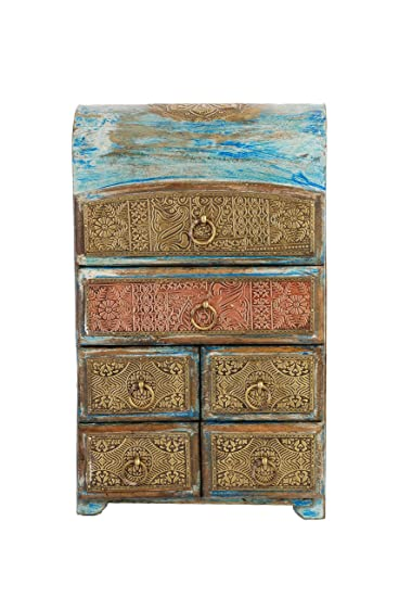 ARTEMENO Blue Wooden Rustic Half Round Drawer Chest 6 Drawer