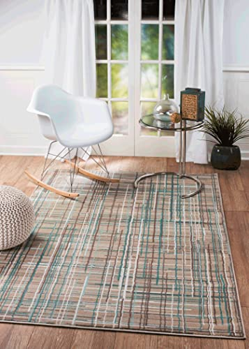 Summit 102 New Taupe Turquoise Area Rug Modern Abstract Many Sizes Available , 7 .4 x10.6