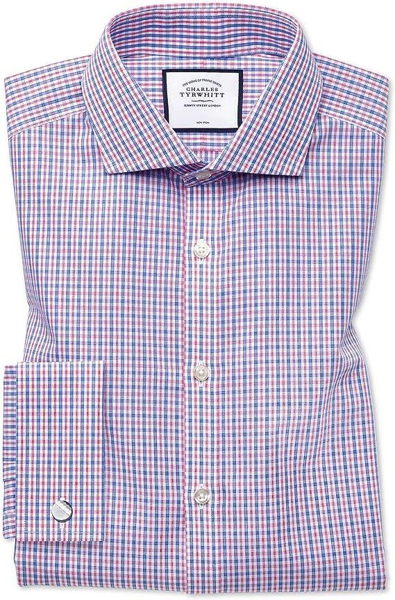 Charles Tyrwhitt Camisa Azul y roja de Popelina Extra Slim fit con Cuello Italiano: Amazon.es: Ropa y accesorios