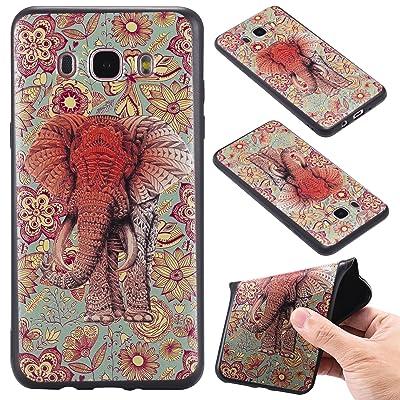 Qiaogle Teléfono Caso - Funda de TPU silicona Carcasa Case Cover para Samsung Galaxy J5 (2016) / J5 (2016) Duos / J510 (5.2 Pulgadas) - KT65 / Retro elefante
