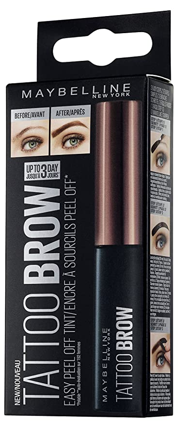 Maybelline Brow Tattoo Gel Tinte para Cejas Morenas, Marrón Oscuro (Dark Brown) -