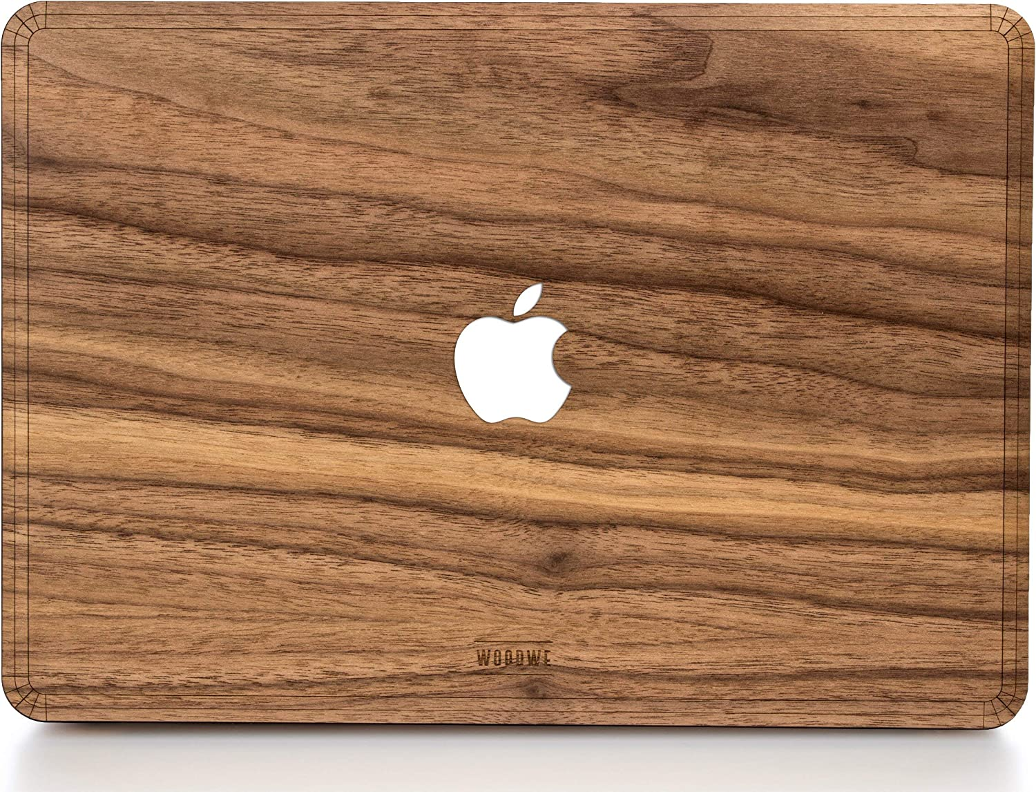 WOODWE MacBook Cover Made of Real Wood | for Mac Pro 15 inch with Touch ID/Bar/Thunderbolt | Late 2016 – Mid 2018 | Natural Walnut Wood
