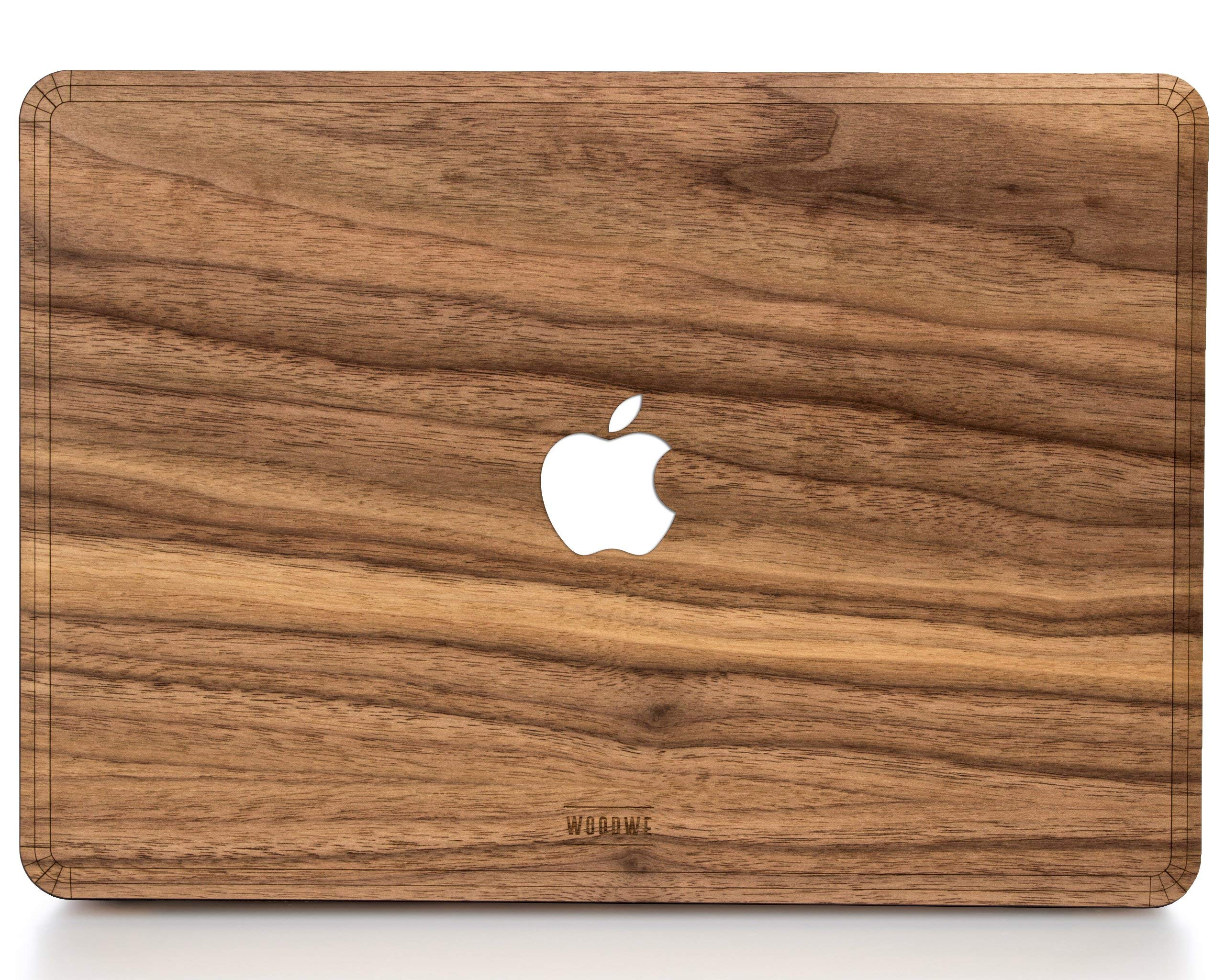WOODWE Real Wood MacBook Hard Case for Protection | for Mac Pro 15 inch Retina Display/White Apple Logo | Mid 2012 – Mid 2015 | Natural Walnut Wood