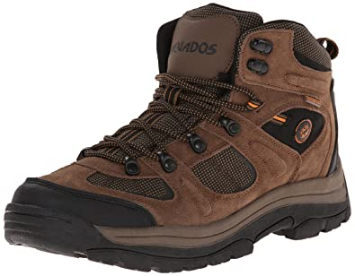 Nevados Men's Klondike Mid Waterproof Hiking Boot, Earth  Brown/Black/Tigerlily Orange,