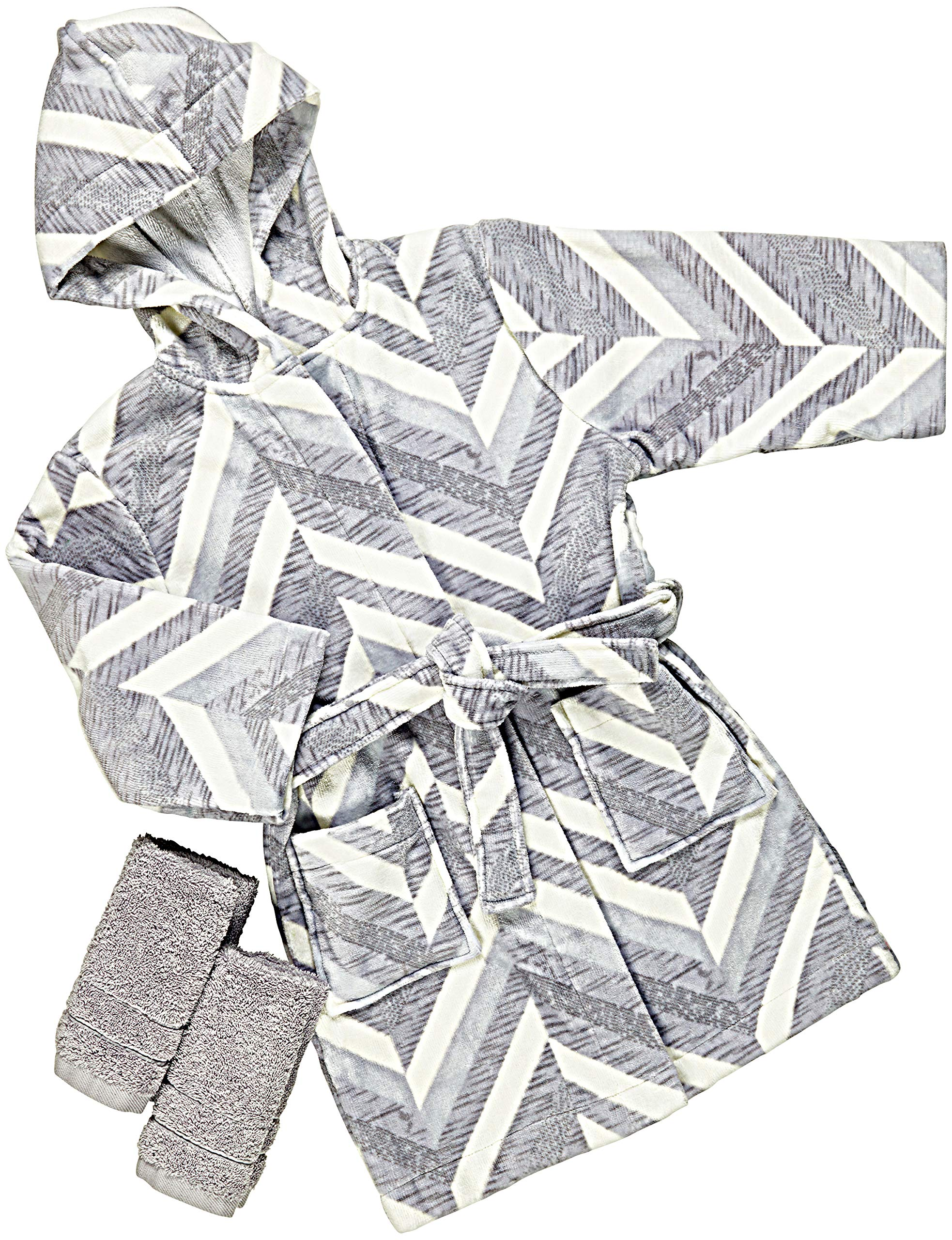 Pointed Designs Kids Hooded Bathrobe and Washcloth Gift Set-100% Cotton Medium (7-9 yrs) by Pointed Designs