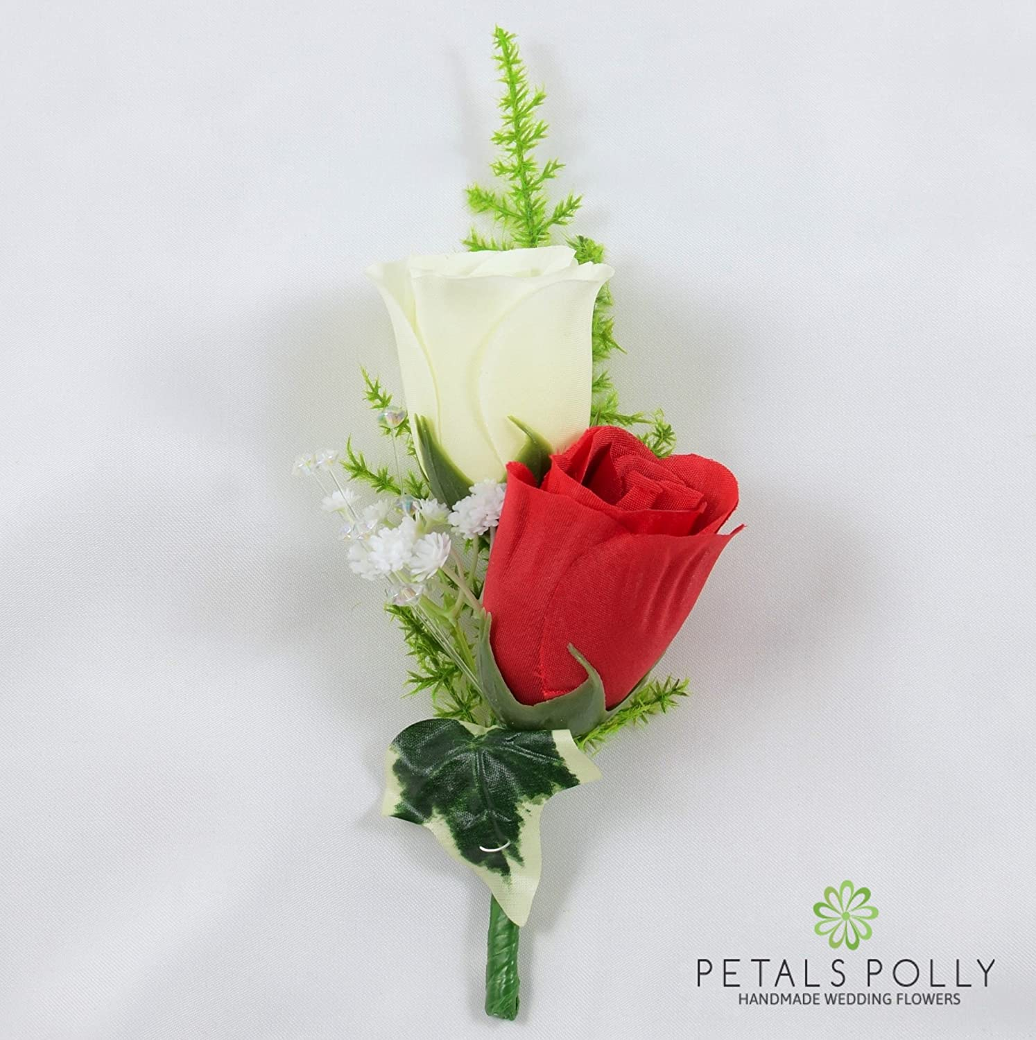 Artificial Wedding Flowers Hand-made by Petals Polly, SILK DOUBLE ROSE BUTTONHOLE IN RED/IVORY PETALS POLLY FLOWERS