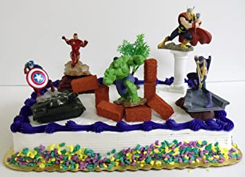 Avengers 15 Piece Birthday Cake Topper Set Featuring Captain America