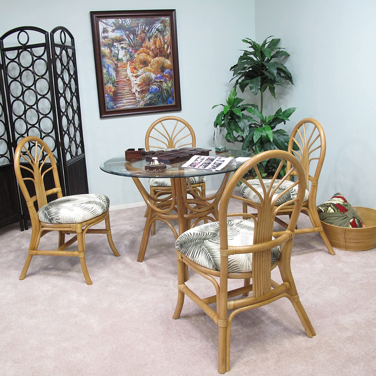 Premium Rattan Dining Furniture Sundance 5PC Set Mana Natural Tropical Big Kahuna Fabric (Honey Finish)