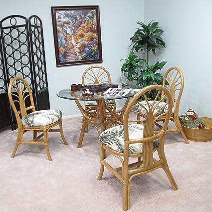 Premium Rattan Dining Furniture Sundance 5PC Set Mana Natural Tropical Big  Kahuna Fabric (Honey Finish