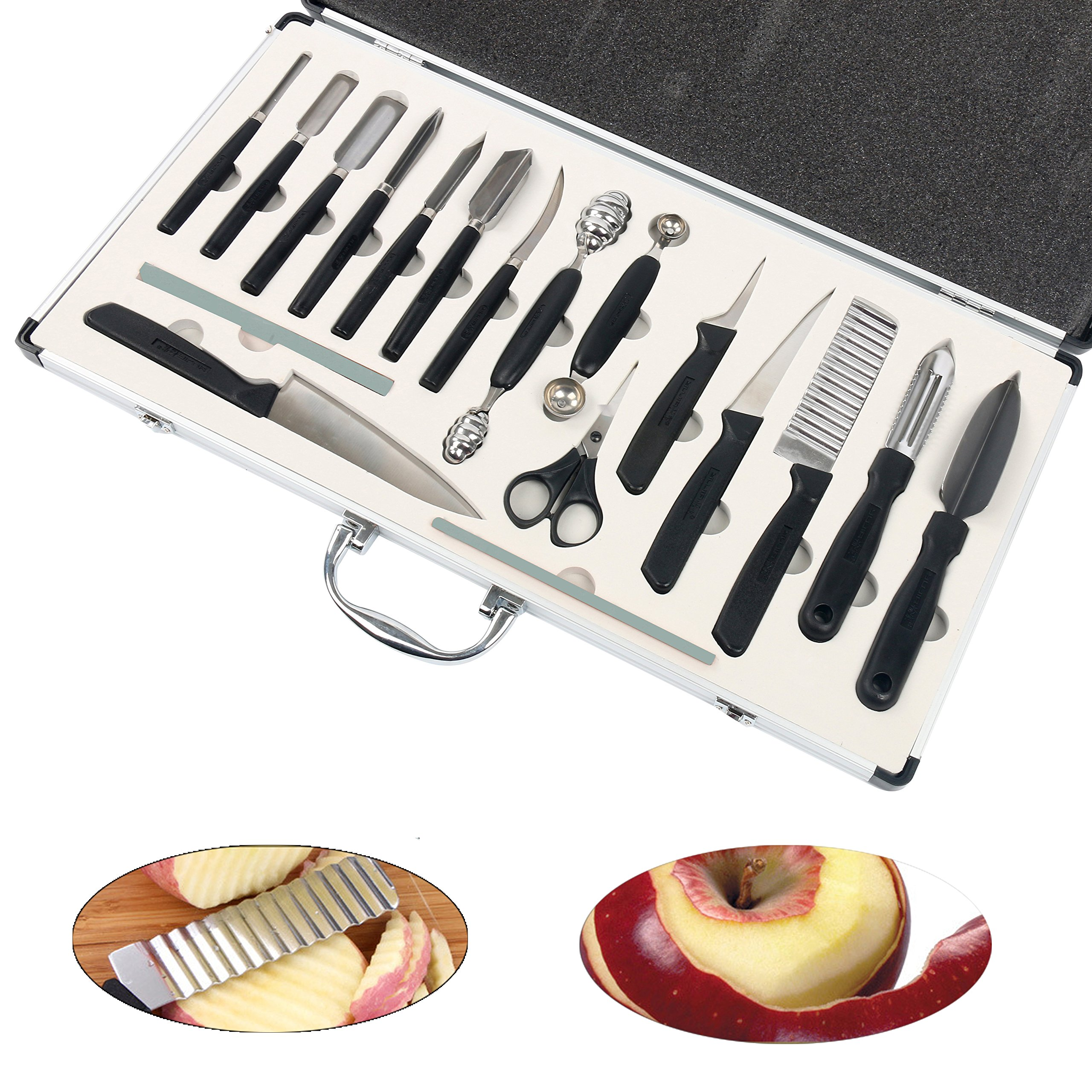 YaeTek 18PCS Culinary Fruit Vegetable Carving Tool Set