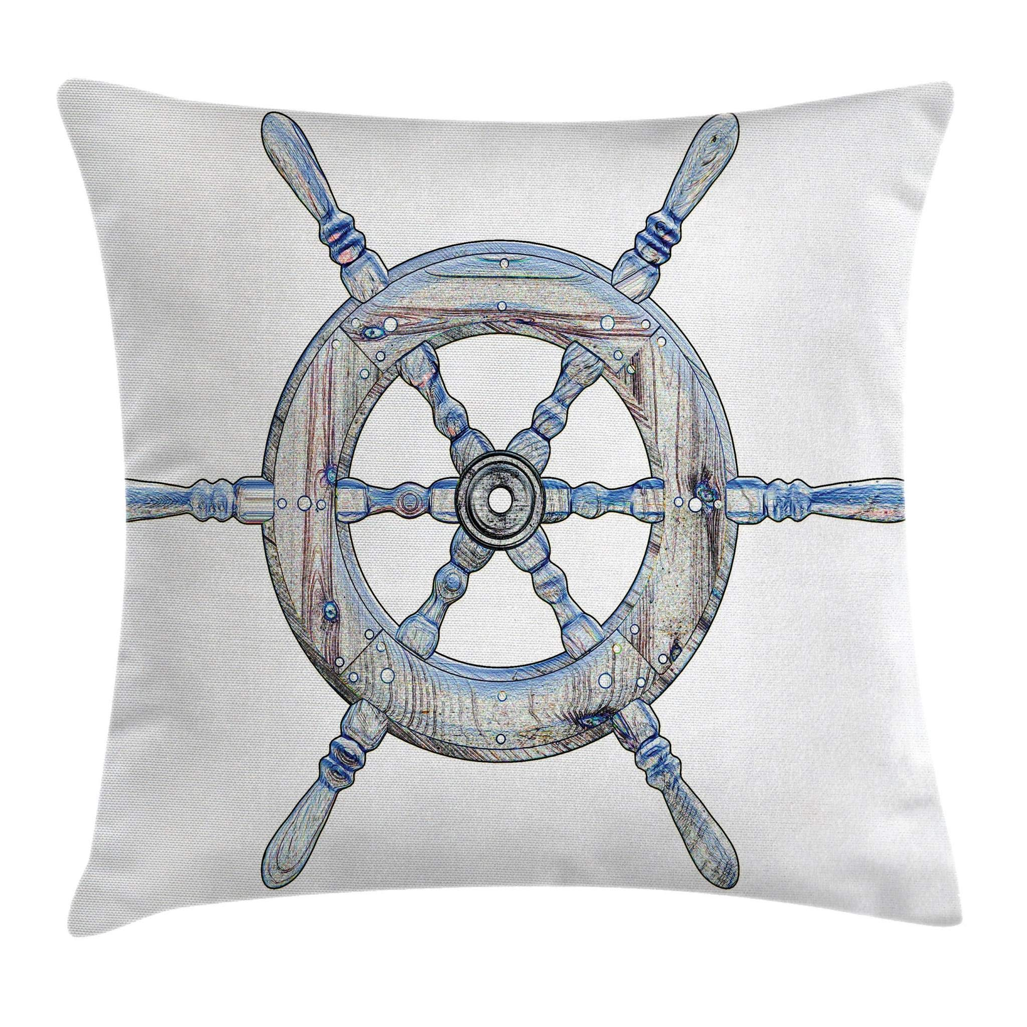 Ambesonne Nautical Throw Pillow Cushion Cover, Illustration of a Wooden Ship Wheel Over White Backdrop Sail Exploring Ocean Theme, Decorative Square Accent Pillow Case, 16'' X 16'', White Blue by Ambesonne