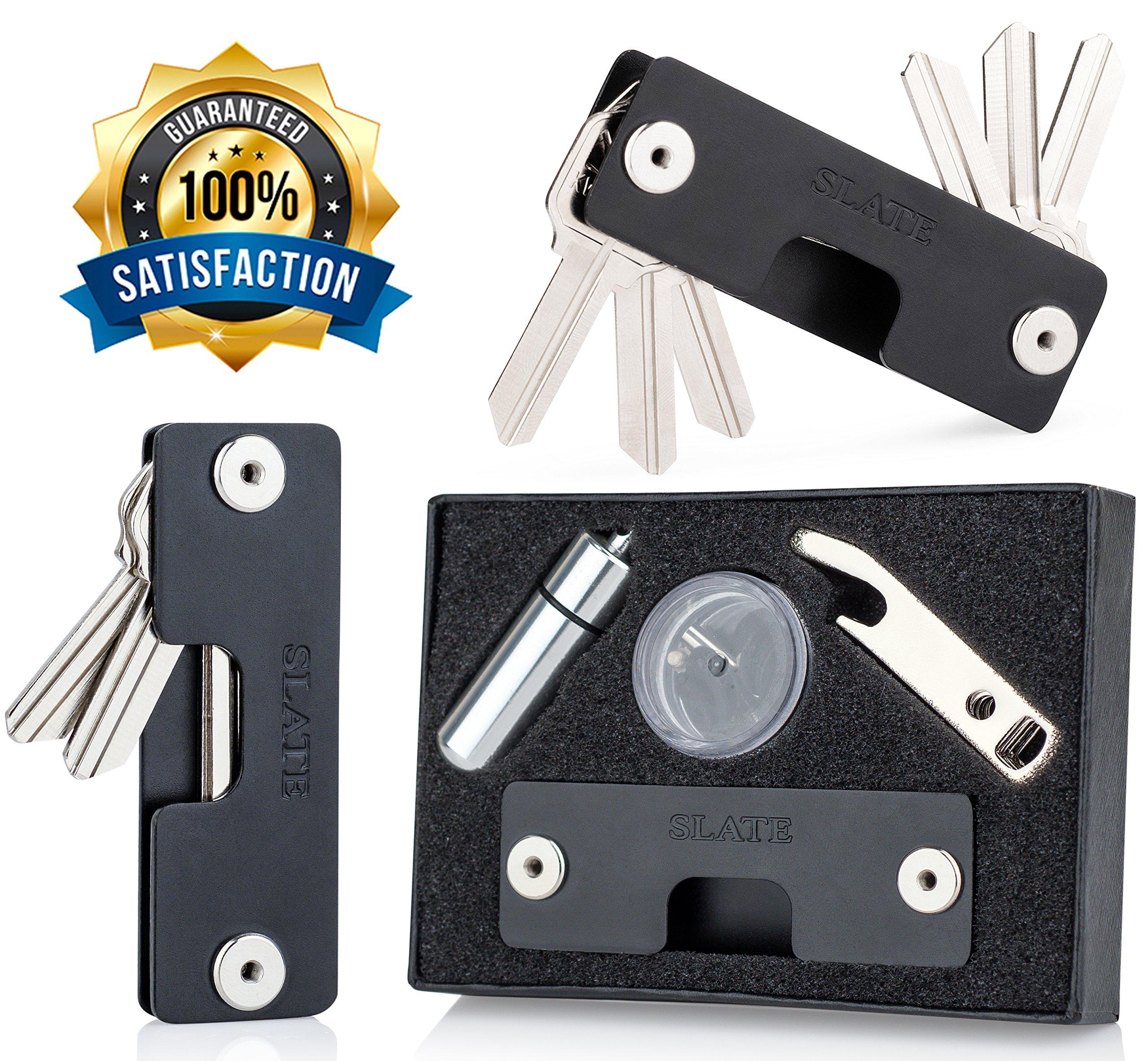 SLATE Key Holder Keychain Organizer Pocket Portable Aluminum Compact Smart Key Tool - Best Gift (Black)