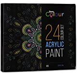 24 Colour Acrylic Paint Set -12ml Tubes perfect for Kids Students and Artists Alike - Paints for Painting on Paper Canvas Wood Clay Fabric Nail Art Ceramic & Crafts