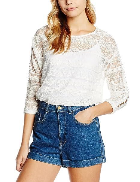 Cortefiel, BLUSA M/L ENCAJE - Blusa para mujer, color Blanco, talla