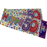 Giant Party Banner Multi- Coloured Happy 50th Banner by The fancy dress and party store