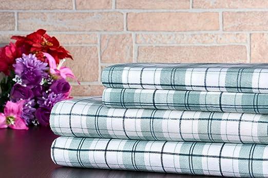 Queen Size Flannel Sheet Set 4 Piece 100/% Cotton Plaid Blue Grey Design Plaid