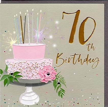 pellicola e cristalli serie Elle con rilievo Belly Button Designs BE037 Biglietto di auguri per 70/° compleanno