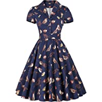 Belle Poque Vintage Short Sleeve Floral A-line Party Picnic Tea Dress BP161