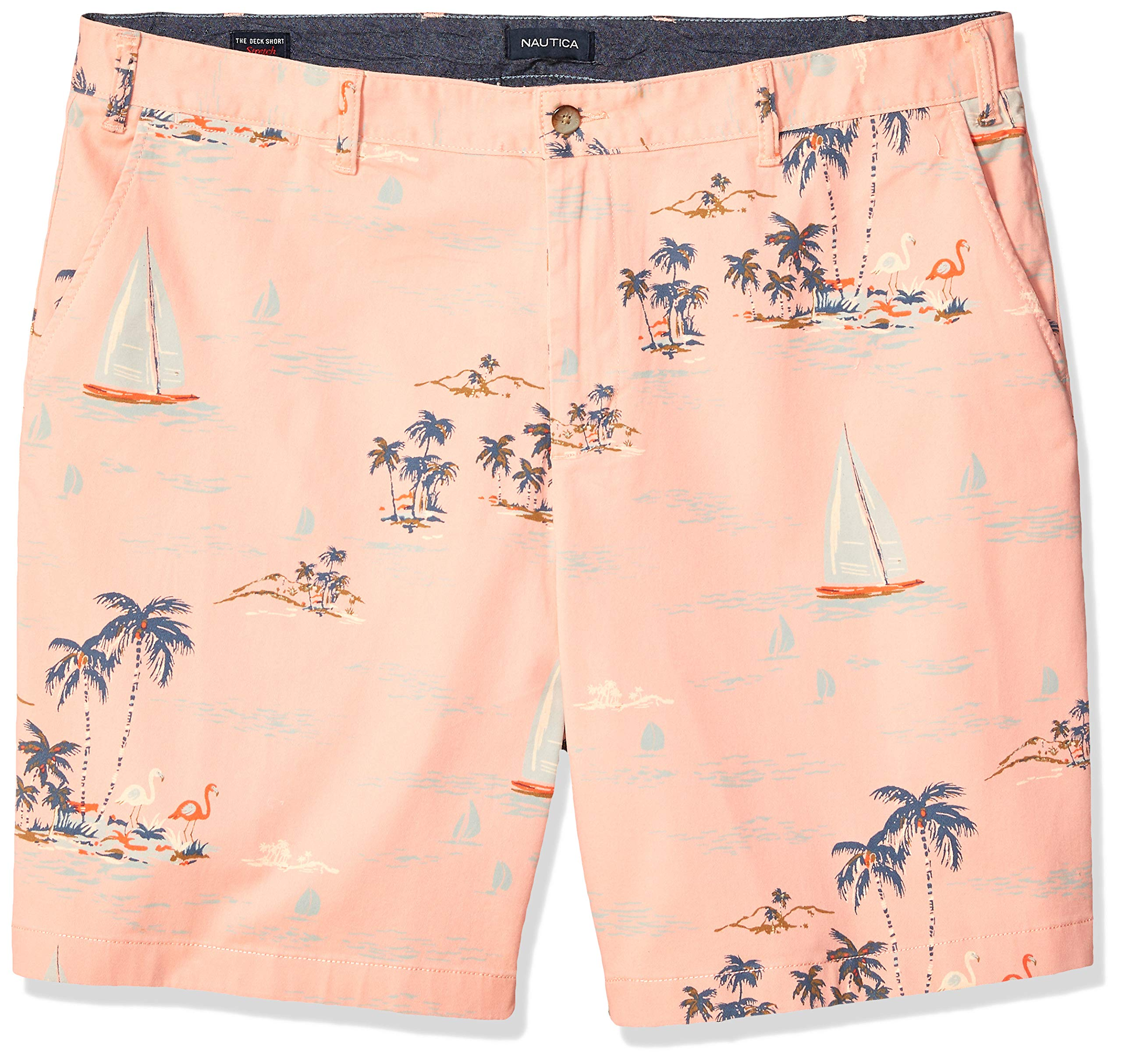 Nautica Men's Big and Tall Classic Fit Flat Front Stretch Printed Deck Short, Peach Glow, 46W
