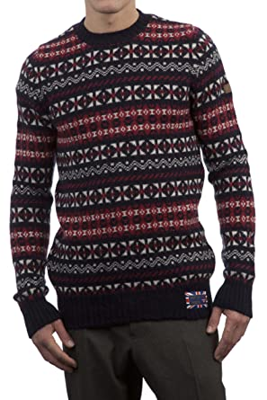 Amazon.com: Hawick Knitwear Men's 100% British Wool Fairisle Crew ...