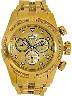 Invicta Mens 53mm Bolt Zeus Swiss Quartz Chronograph Gold Dial and Case Bracelet Watch (23911