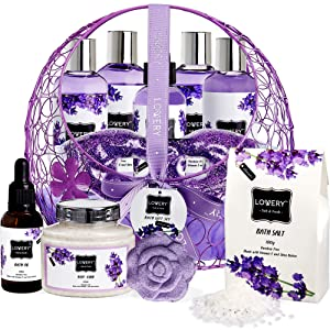 Bath and Body Gift For Women and Men – Hot and Cold Gel Eye Mask, Lavender and Jasmine Deluxe Home Spa Set with Bath Bombs, Massage Oil, Purple Wired Candy Dish and Much More - 12 Piece Set