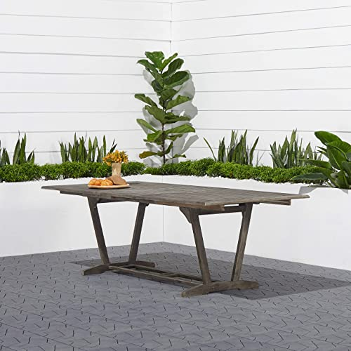Renaissance Outdoor Patio Hand-Scraped Wood Rectangular Extension Table