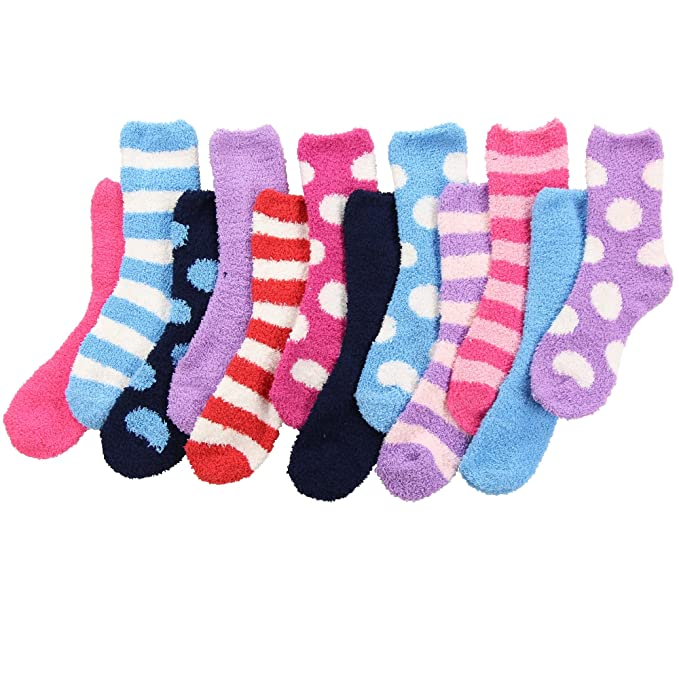 reasonably priced first look cheap for discount Womens Cute Cozy Fuzzy Fluffy Crew Socks Bulk Pack 12 Pack