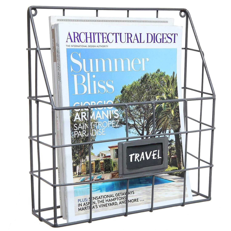 Amazon.com: Grey Metal Wire Wall Magazine Rack Bin / Newspaper Rack ...