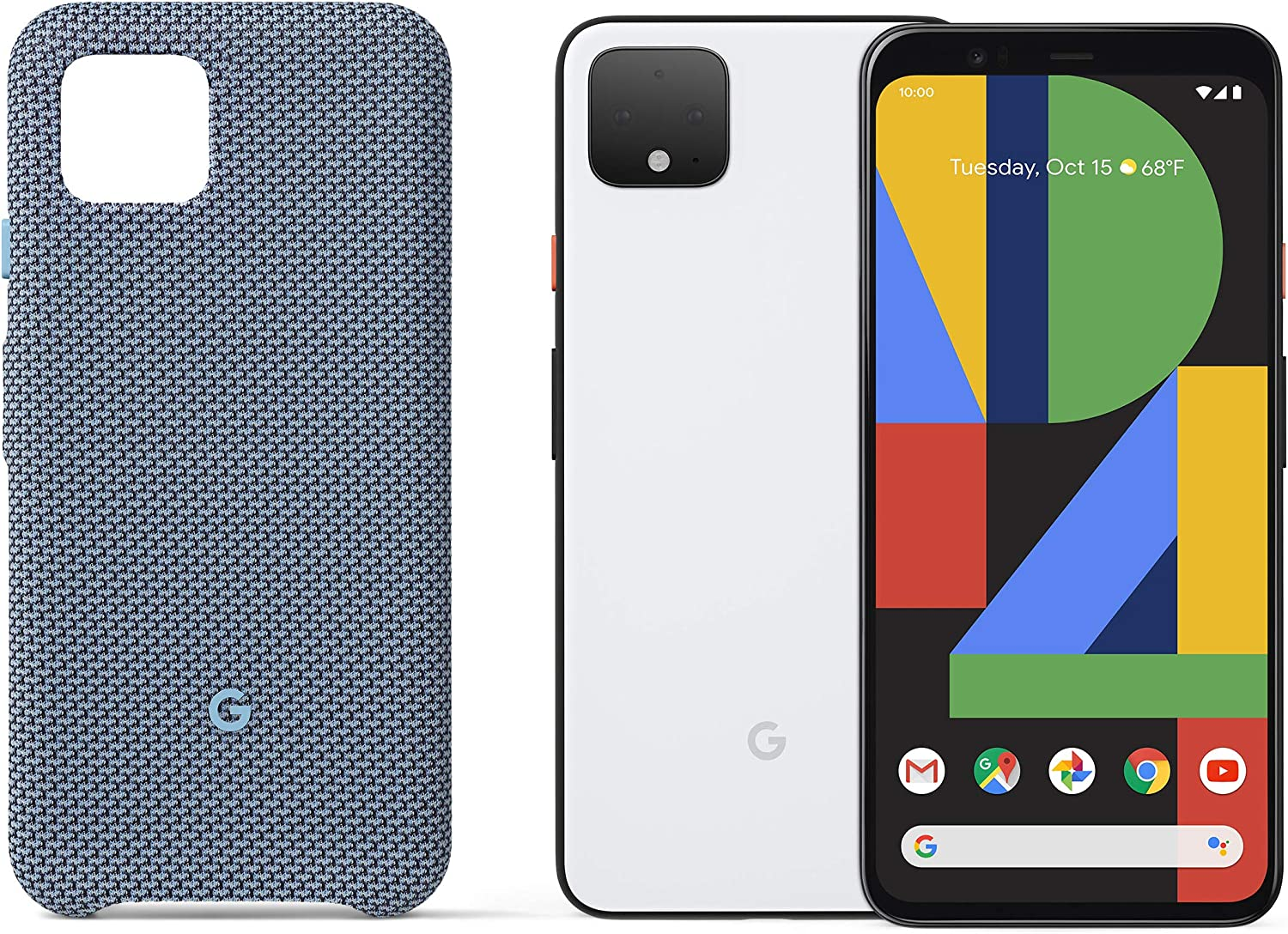Pixel 4 - Clearly White - 64GB - Unlocked with Pixel 4 Case, Blue-ish