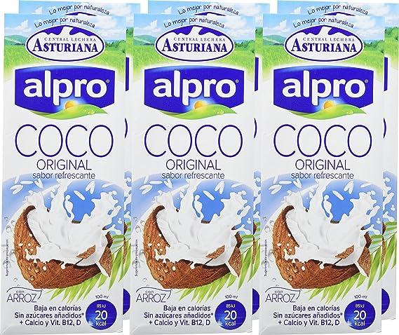 Alpro Central Lechera Asturiana Bebida de Coco con Arroz - Paquete de 6 x 1000 ml - Total: 6000 ml: Amazon.es: Alimentación y bebidas