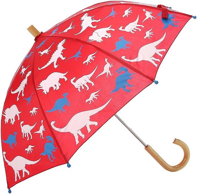 Hatley Printed Umbrella, Paraguas para Niños, Red (Dino Silhouettes), Talla única