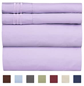 Queen Size Sheet Set - 4 Piece Set - Hotel Luxury Bed Sheets - Extra Soft - Deep Pockets - Easy Fit - Breathable & Cooling - Wrinkle Free - Comfy – Lavender Bed Sheets - Queens Sheets – 4 PC