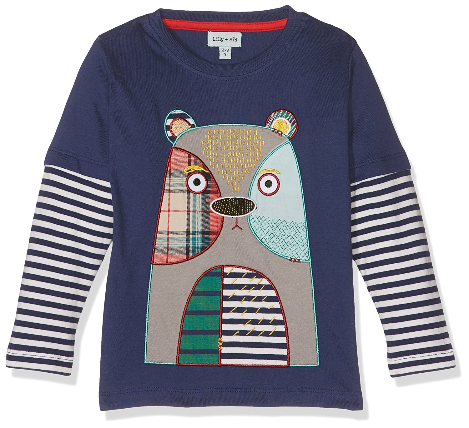Lilly and Sid Bear Patch Applique Mock Sleeve Top, Maglietta a Maniche Lunghe Bambino Blu (Blue 001) 5-6 Anni Lilly & Sid CLSOB71206