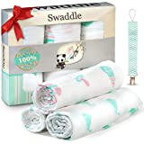 Premium Quality Baby Swaddle Blankets 100% Organic Muslin Cotton for baby boy and girl , 3 Pack. Let Baby Feel Embraced And Protected with Loli's ultra soft covering cloth + Bonus Gift