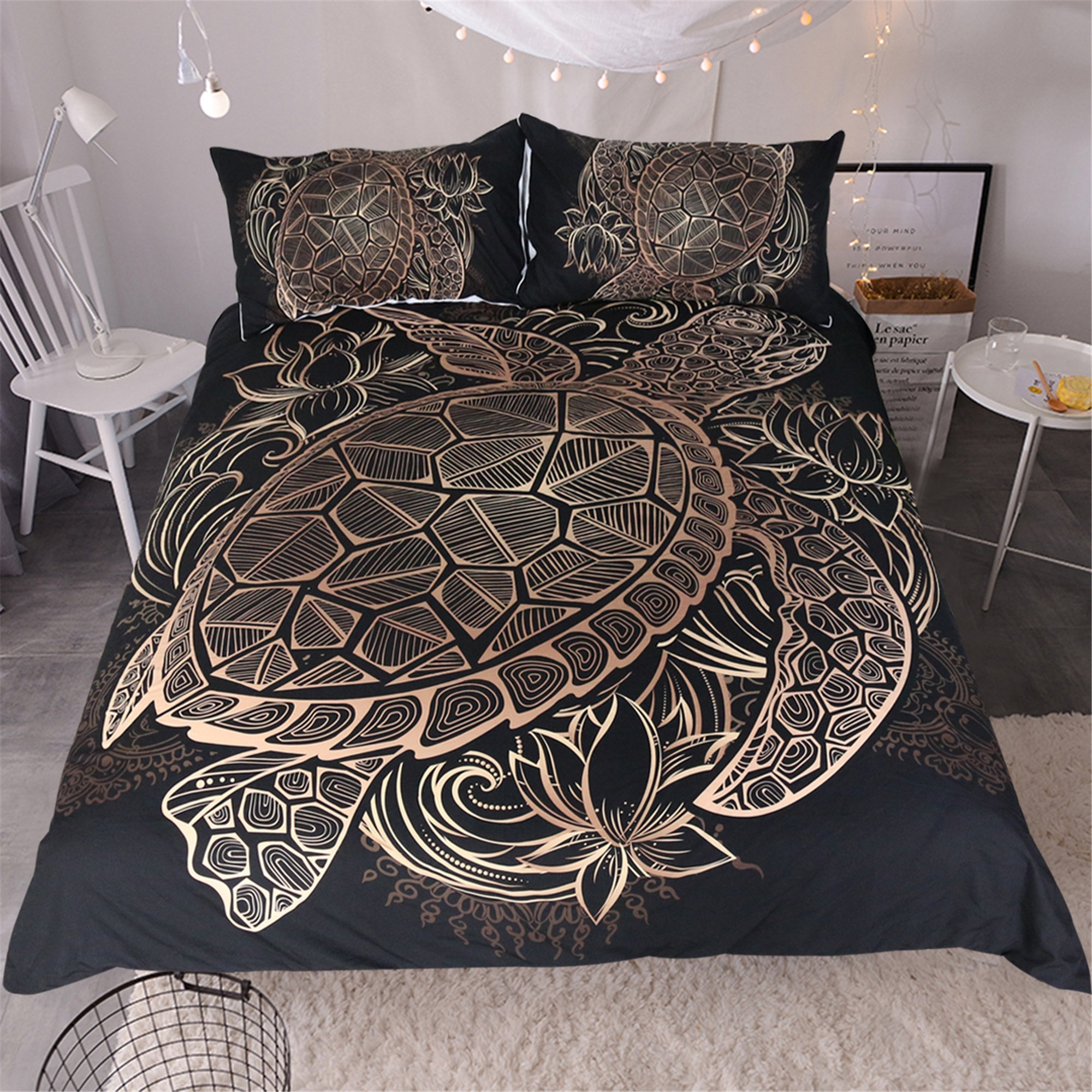 Sleepwish Gold Black Tortoise Bedding 3D Printed Golden Duvet Cover Turtle Floral Pattern Funky Duvet Cover Bedspread Quilt Cover (King)