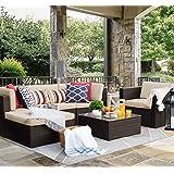 Flamaker 6 Pieces Patio Furniture Set Outdoor Sectional Sofa Outdoor Furniture Set Patio Sofa Set Conversation Set with Cushi