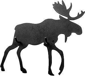ABLinox Gift for Women Moose Hooks for Hanging, Bath Towel Hooks, Rustic Hooks, Black Metal Country Farmhouse Décor