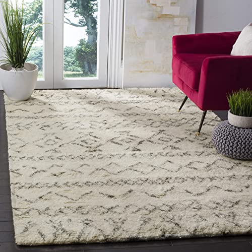 Safavieh Casablanca Shag Collection CSB827B Southwestern Ivory and Grey Premium Wool Cotton Area Rug 8 x 10