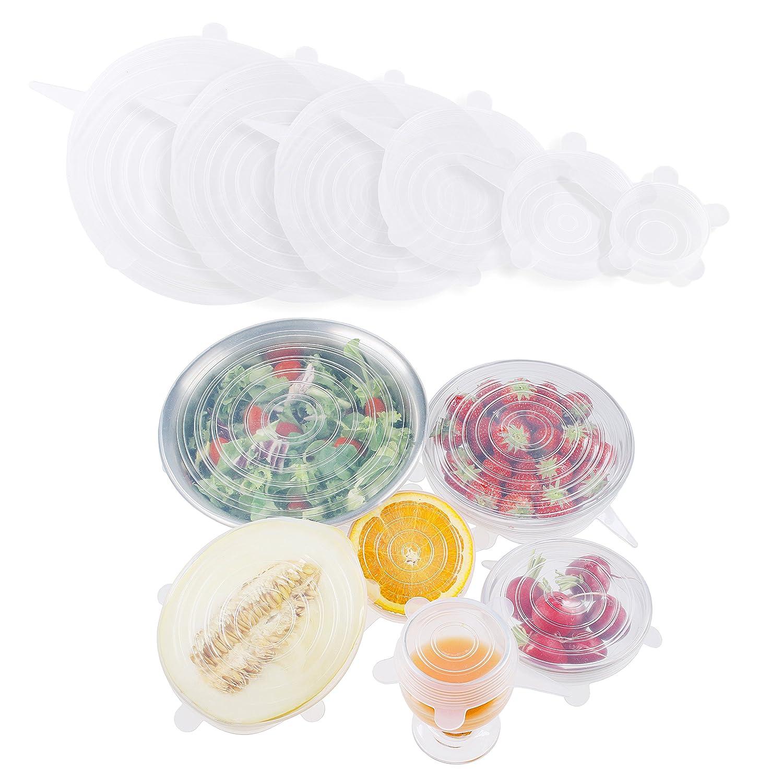 Gewertiger 6-Teiliges Stretch Silikondeckel Set. Alternative Wiederverwendbare Frischhaltefolie für Dosen, Schüsseln, Becher, Töpfe, Gläser Schüsseln Töpfe Gläser