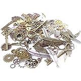 BIHRTC 235 Gram (Approx 135pcs) DIY Mixed Color Metal Skeleton Keys Wings Steampunk Watch Gear Cog Wheel Charms Pendant for D