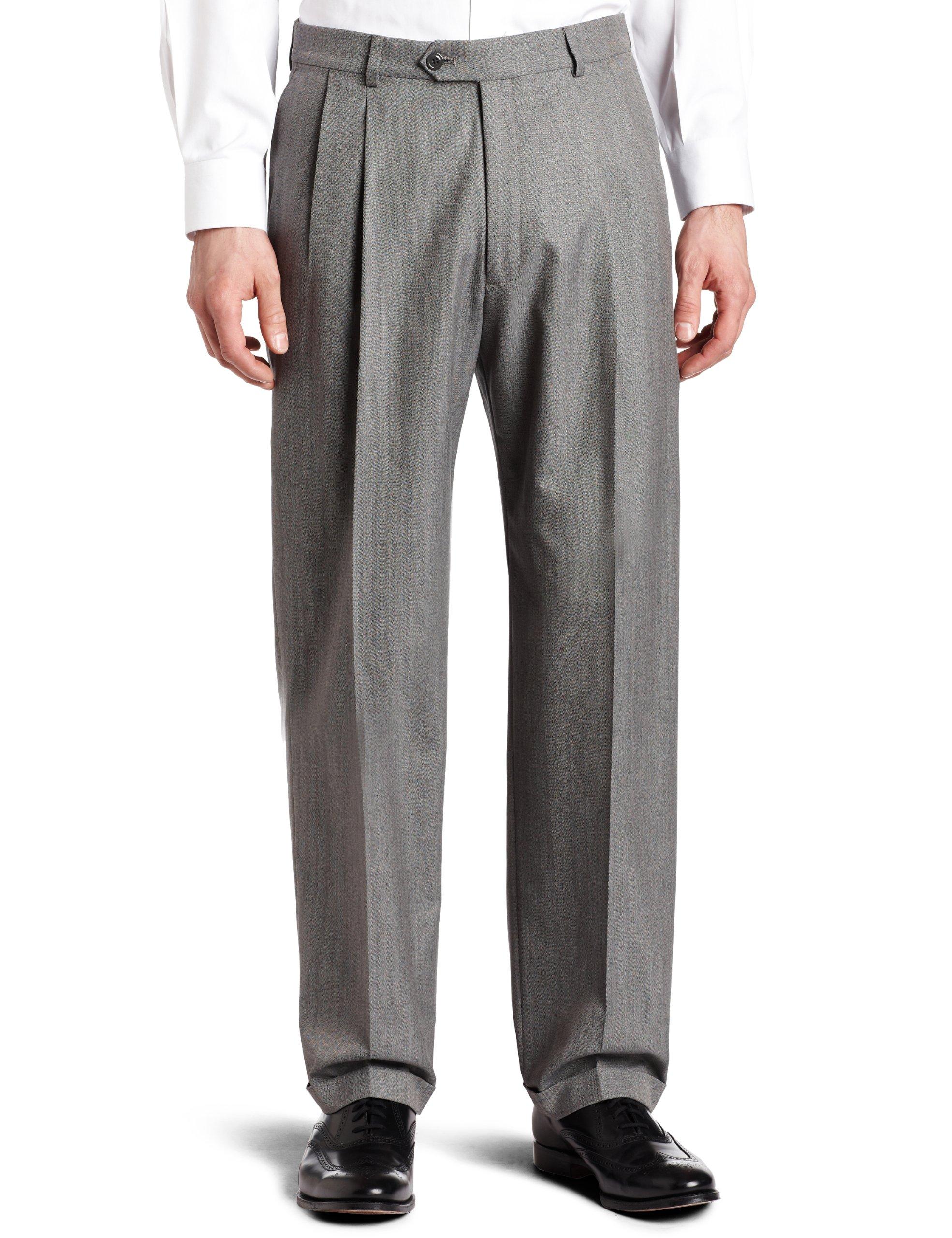 Haggar Men's Herringbone Pleat Front Cuff Suit Separate Pant,Gray,34 / 32 by Haggar