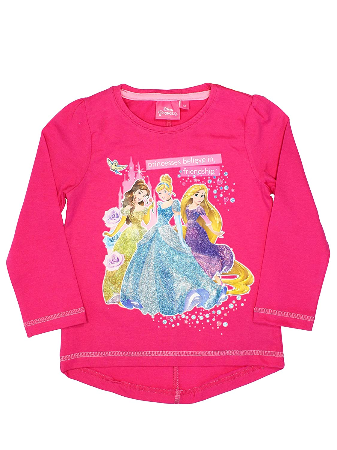 NEW Girls Official Disney Princesses Pink 2 Piece Long Pyjama Set Ages 3-8 years