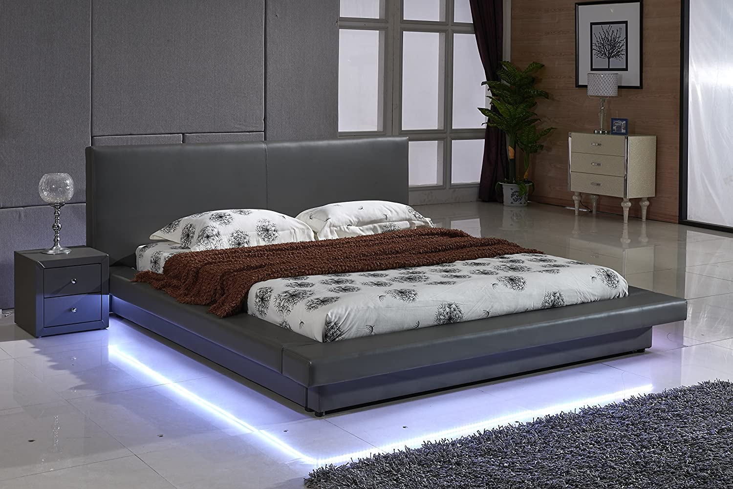 modern platform bed king size grey leather w led low profile bedroom furniture ebay. Black Bedroom Furniture Sets. Home Design Ideas
