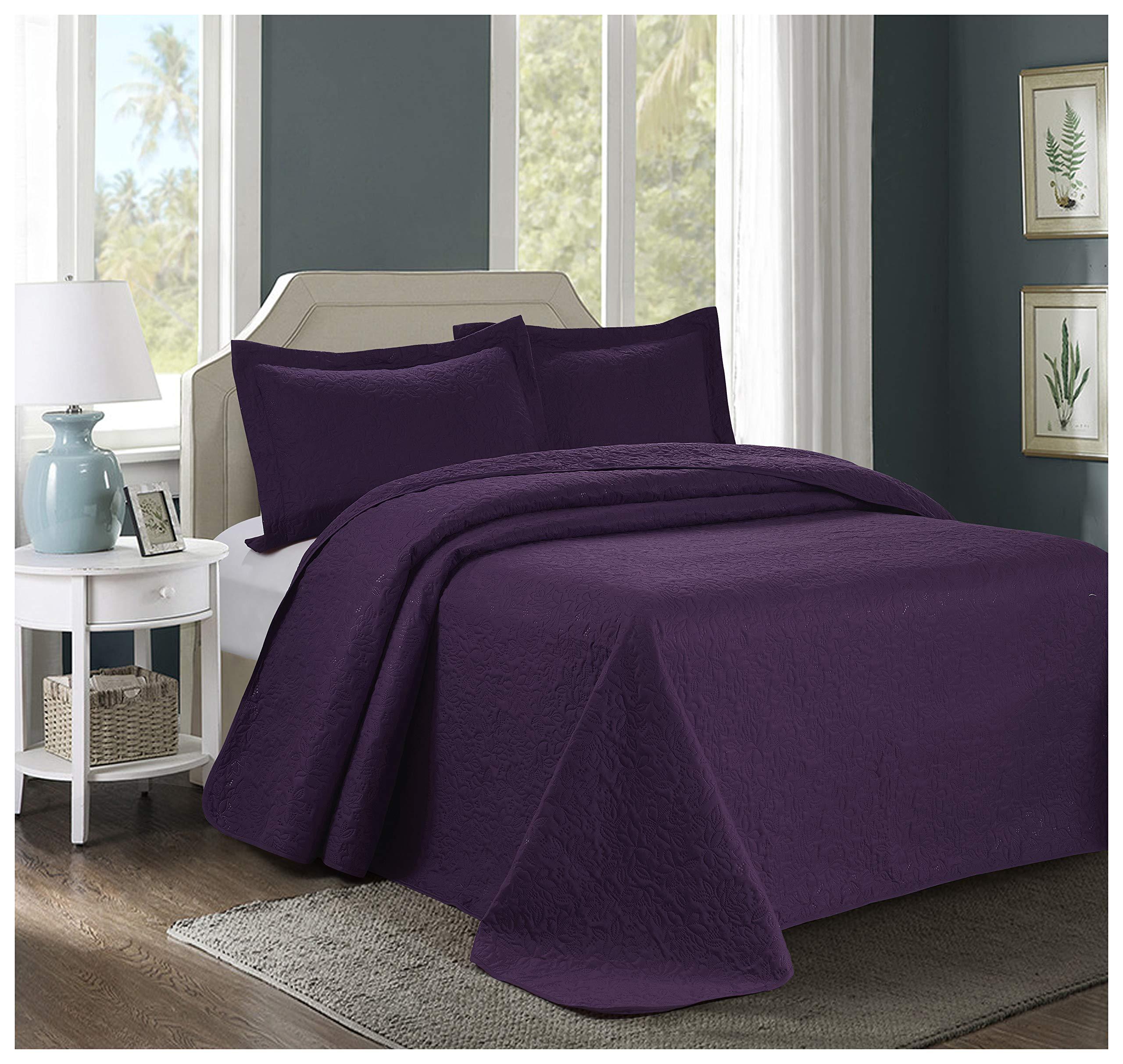 3 Piece JULES Ultrasonic Embossed Bedspread Set-Oversized Coverlet 100x106in, 118x106in (Queen, Purple)