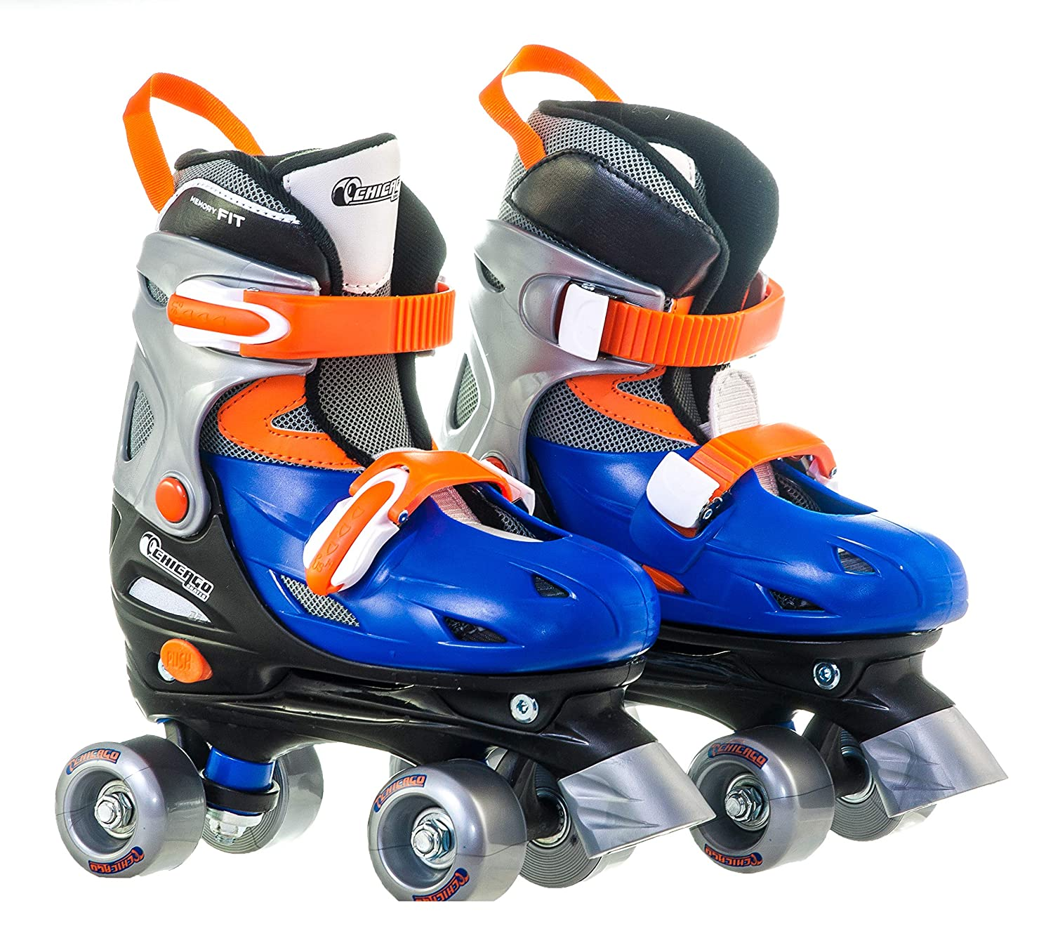 Chicago Boy s Adjustable Quad Roller Skate, Blue Silver