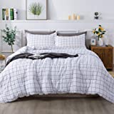 Andency White Grid Comforter Twin(66x90 Inch), 2 Pieces(1 Plaid Comforter and 1 Pillowcase) Black White Plaid Comforter…