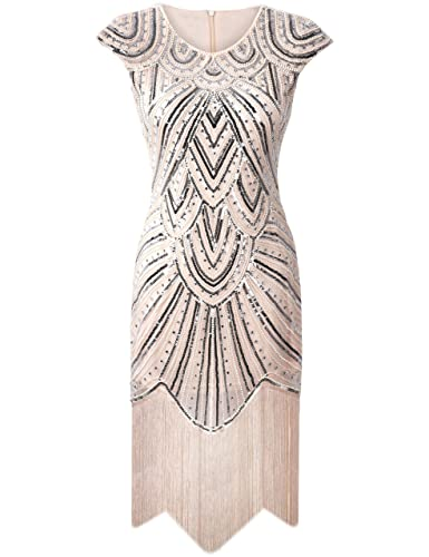 PrettyGuide Women 1920s Gastby Diamond Sequined Embellished Fringed Flapper Dress