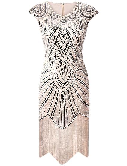 PrettyGuide Donne 1920 Gatsby diamante paillettes impreziosito frange  Vestito con le frange beige di lusso XS a07116954f1